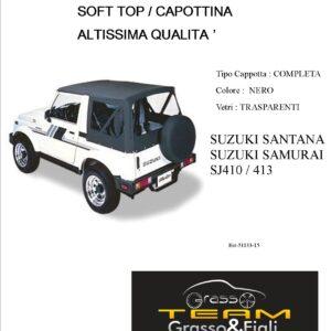 Cappottina 90° Gradi Soft Top Nero Suzuki Samurai Santana Sj410 Sj413 Altissima Qualità