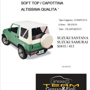 Cappottina 90° Gradi Soft Top Bianco Suzuki Samurai Santana Sj410 Sj413 Altissima Qualità