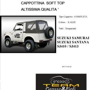 Cappottina Soft Top Kakhi Suzuki Samurai Santana Sj410 Sj413 Altissima Qualità
