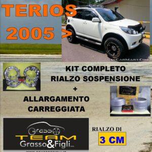 Kit COMPLETO Rialzo Molle + 4 Distanziali Ruota 3cm For Daihatsu Terios 2006 -> DF19 FT30 FD22