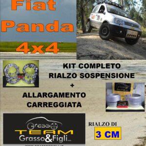 Kit COMPLETO Rialzo Molle + 4 Distanziali Ruota 2 cm For Fiat Panda 4×4 2003 -> 2012 FT30 + FT30 + XA6 + XB4