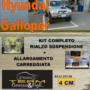 Kit COMPLETO Rialzo Molle + 4 Distanziali Ruota 3 cm For Hyundai Galloper AR08M + DF3