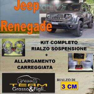 Kit COMPLETO Rialzo Molle + 4 Distanziali Ruota 2cm For Jeep Renegade 2014 -> oggi FT30 – AU27P – XA57 – XB4
