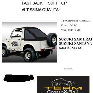 Fast Back Soft Top Nero Suzuki Samurai Santana Sj410 Sj413 Altissima Qualità cappottina 45° Gradi