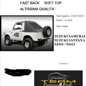 Fast Back Soft Top Kakhi Suzuki Samurai Santana Sj410 Sj413 Altissima Qualità cappottina 45° Gradi