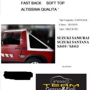 Fast Back Soft Top Bianco Suzuki Samurai Santana Sj410 Sj413 Altissima Qualità cappottina 45° Gradi