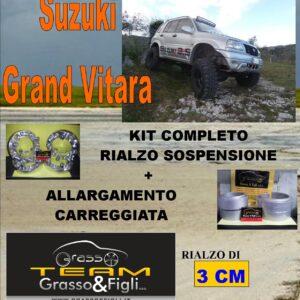 Kit COMPLETO Rialzo Molle + 4 Distanziali Ruota 3cm For Suzuki Grand Vitara 1998 -> AU27 + AU27 + DF4