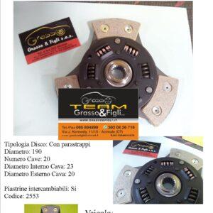 Disco Frizione in Rame Sinterizzato 3 Petali / A molle con Parastrappi Fiat Uno Turbo IE Diametro 190 – 2553